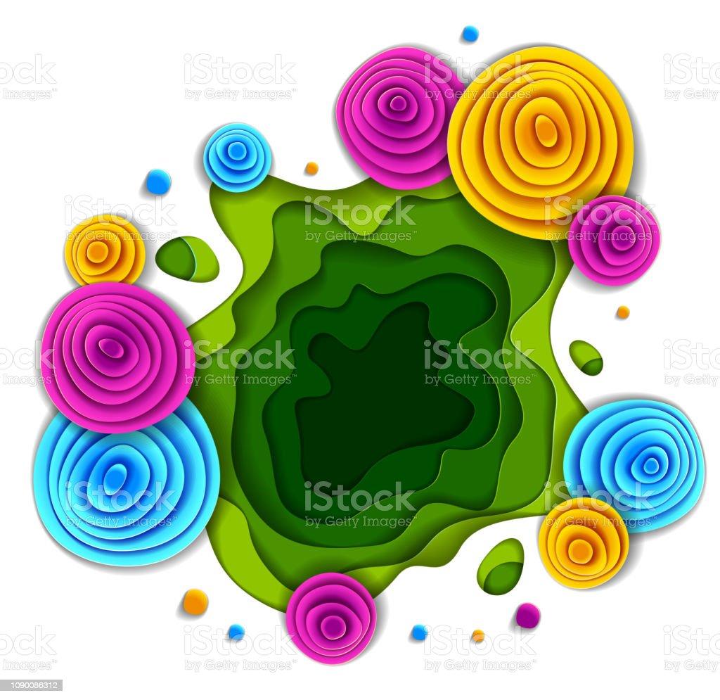 Stil, vektör çiçek çizim kesilmiş kağıt çiçek tasarım yapın. Düğün davetiyesi veya romantik tebrik kartı. vektör sanat illüstrasyonu