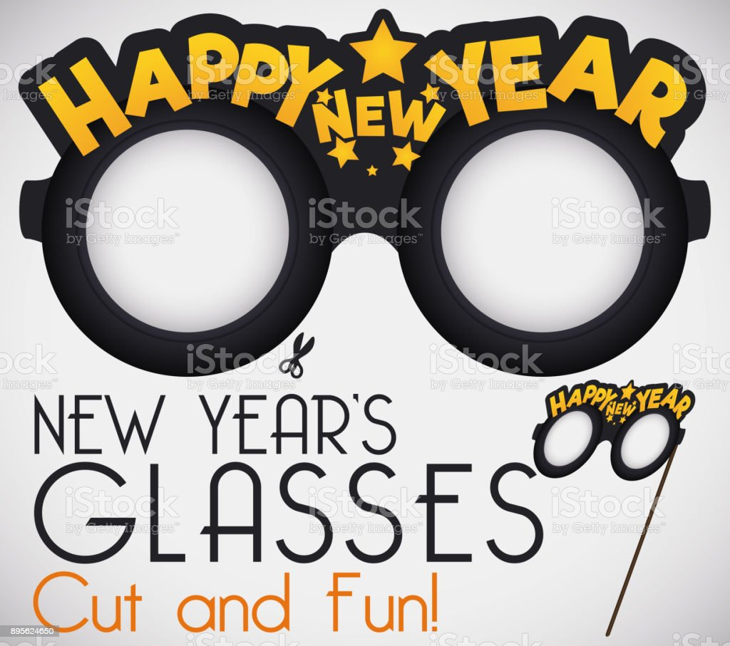 Design With Funny Cut It For New Years Glasses Stock Vector Art ...