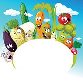 design with funny vegetable cartoon - vector illustration
