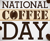 istock Design with Sack Cloth and Coffee Beans for National Coffee Day 1252208196