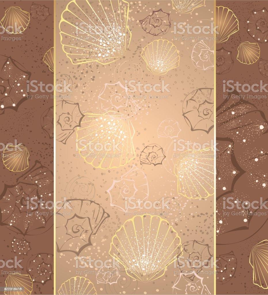 design with seashells vector art illustration