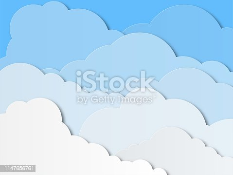 Design with white cumulus clouds in the sky. Paper cut design for cards, invitations, advertisements. Vector illustration