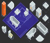 design your bathroom by locating the axonometric elements on blueprint. all objects individually grouped
