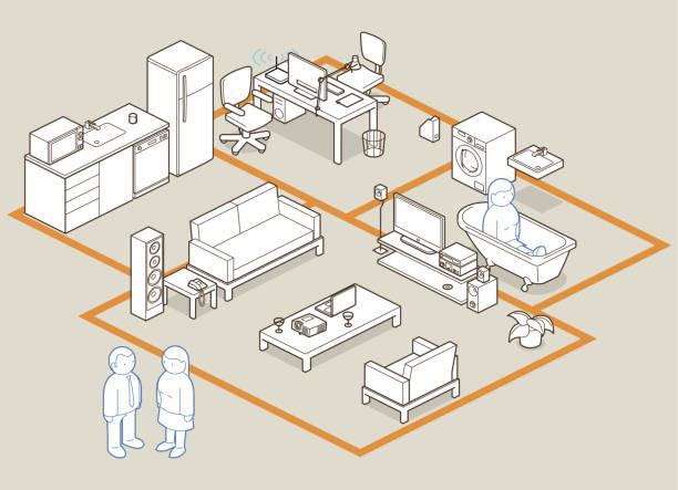 bildbanksillustrationer, clip art samt tecknat material och ikoner med design your home / office - arbeta köksbord man