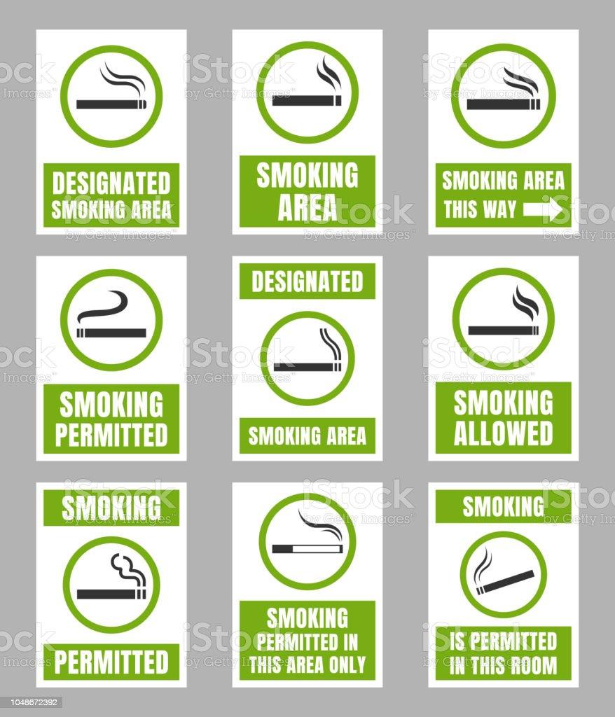Designated Smoking Area Sign Set Smoking Place Stock Illustration Download Image Now Istock,Nursing School T Shirt Designs