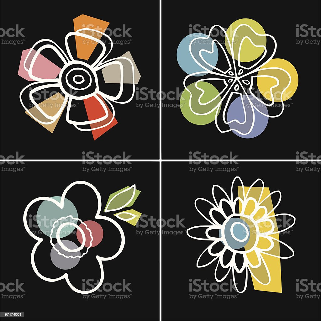 designed flowers royalty-free stock vector art
