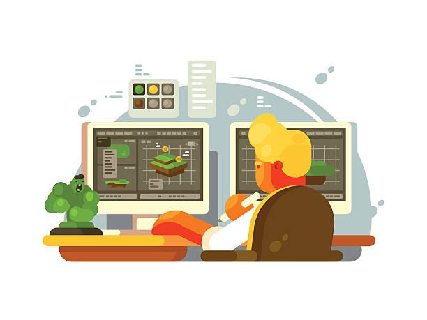 bildbanksillustrationer, clip art samt tecknat material och ikoner med designer 3d modeling - man architect computer