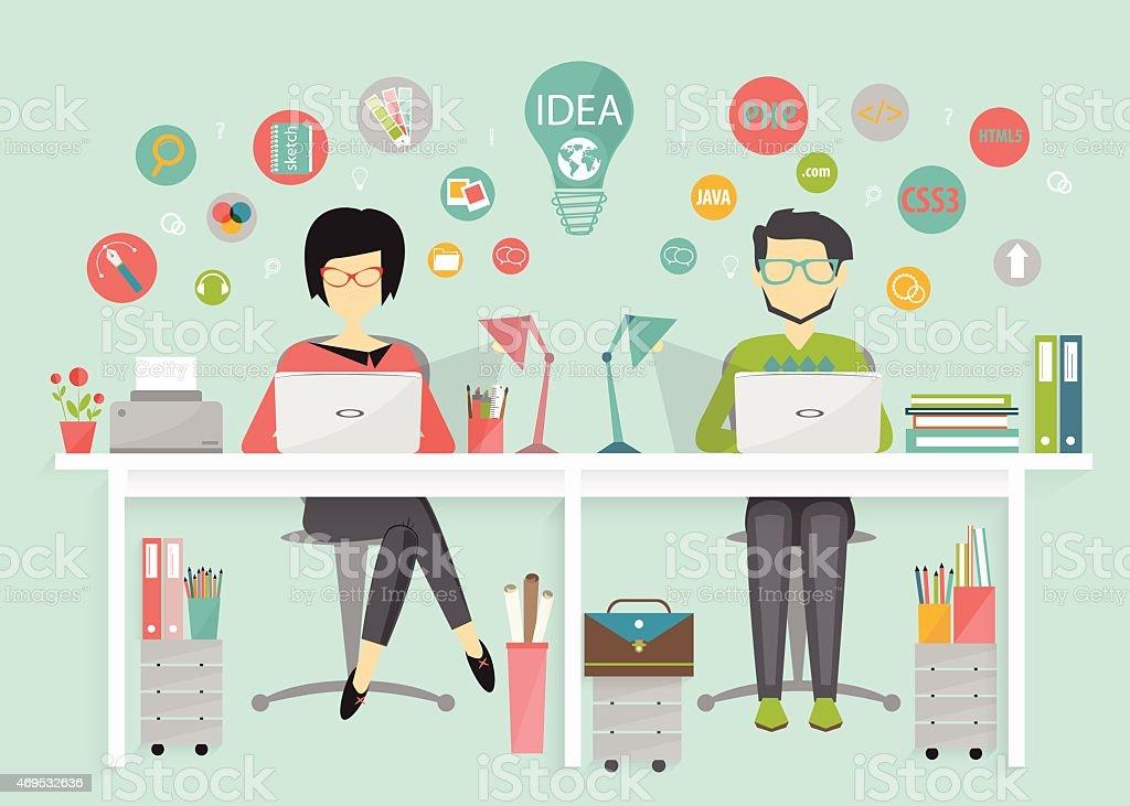designer and programmer, work process vector art illustration