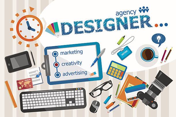 designer-design-konzept. typografische poster. - arbeitsvermittlung stock-grafiken, -clipart, -cartoons und -symbole