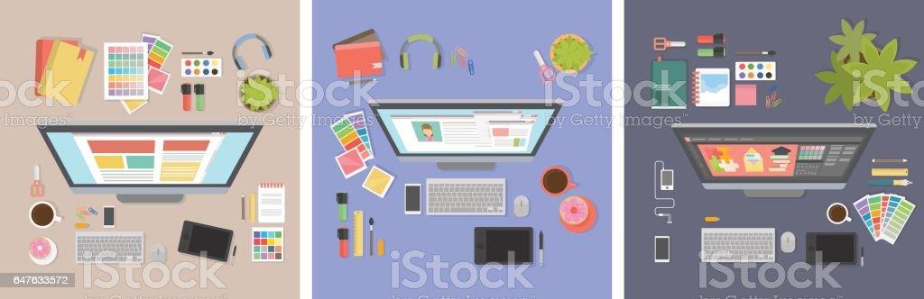 Designer desk mockup set. Desk with computer screen, tablet and drawing tools. vector art illustration