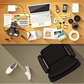 Designer desk photographer, Top view of desk background