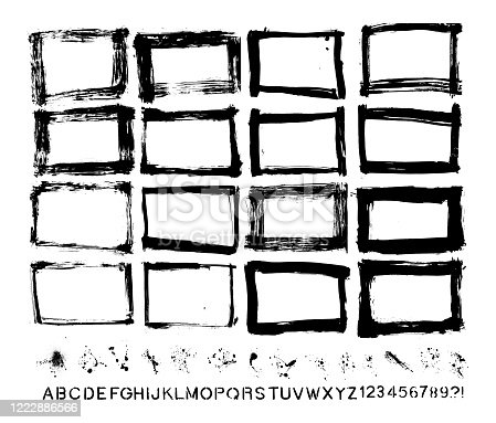 Designer Group of homemade vector painted grunge elements. Great for all sorts of projects. Individually grouped. High resolution .JPEG provided and a vector file available with a download. ONLY AVAILABLE THROUGH GETTY IMAGES. ALL HAND MADE.