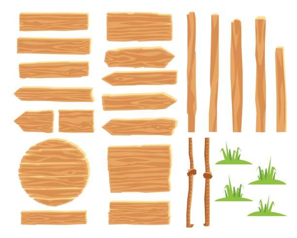 designer for creating wooden road signs - lepki stock illustrations
