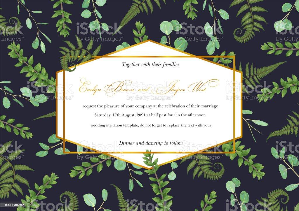Designer geometric golden frame with green leaves of forest fern,...