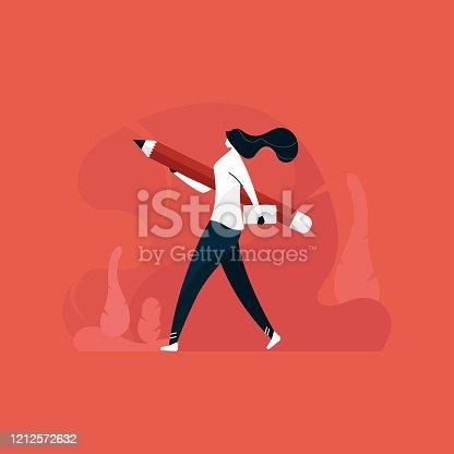 istock designer girl walking with laptop, freelancer designer lady, Woman with laptop concept 1212572632