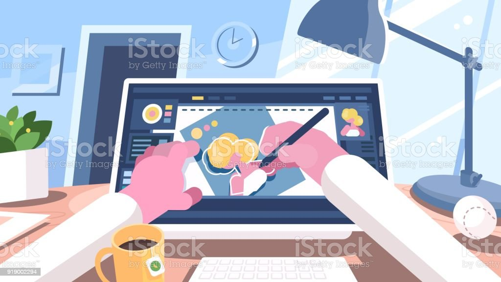 Designer illustrator draws on computer