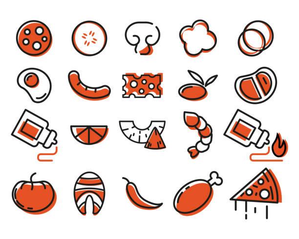 designer pizza. zutaten für pizza - zwiebelringteig stock-grafiken, -clipart, -cartoons und -symbole