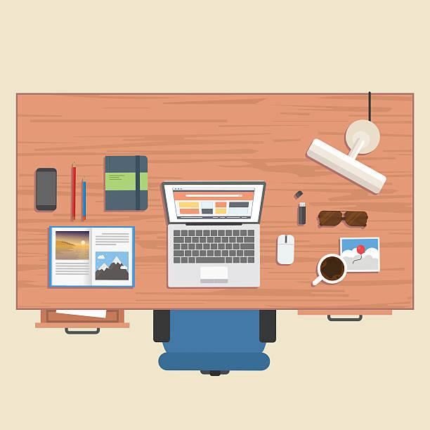 bildbanksillustrationer, clip art samt tecknat material och ikoner med designer stuff on table - byrålåda