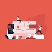 designer team working together in web industry, responsive web design concept