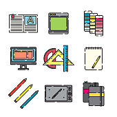 A set of 25 color thin line icons. File is built in the CMYK color space for optimal printing, and can easily be converted to RGB. Color swatches are global for quick and easy color changes throughout the entire set of icons.