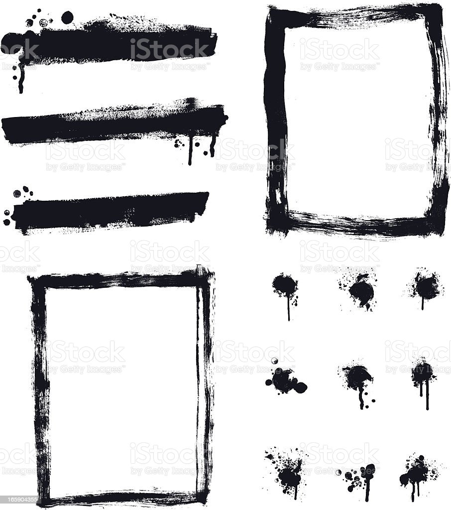 Designer Vector Element Collection - Banner Border Paint Spalter Set vector art illustration