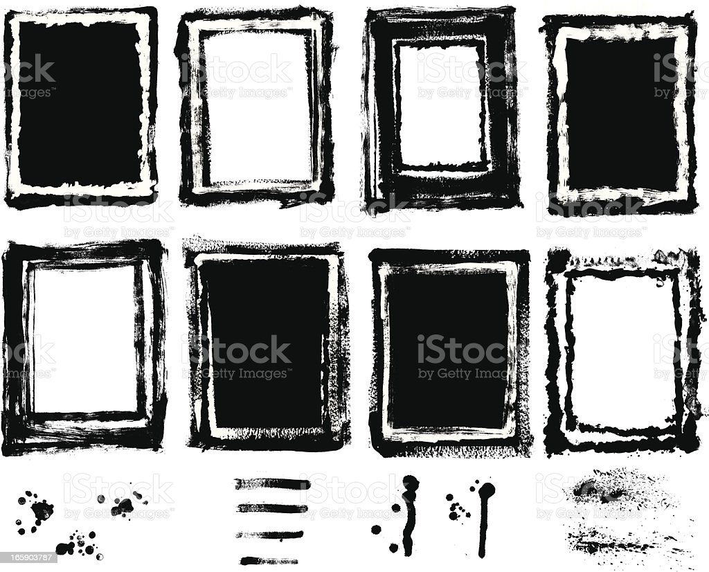Designer Vector Element Collection - Painted Texture Grunge Border Set royalty-free stock vector art