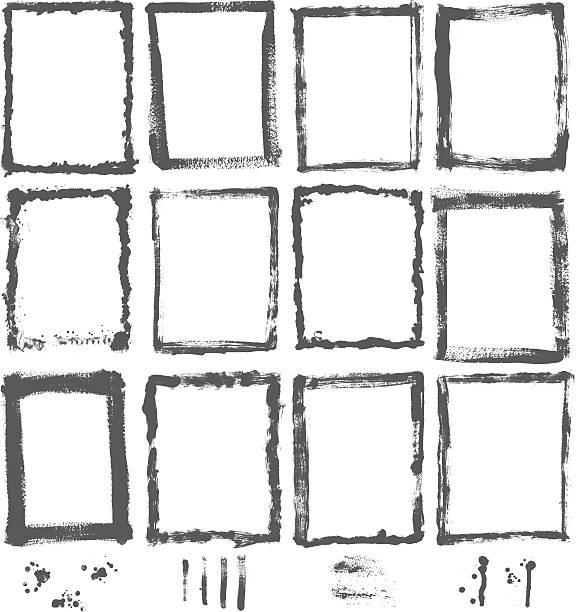 ilustraciones, imágenes clip art, dibujos animados e iconos de stock de colección de elementos de diseño vectorial-conjunto de frontera de pintura de textura grunge - marcos grunge