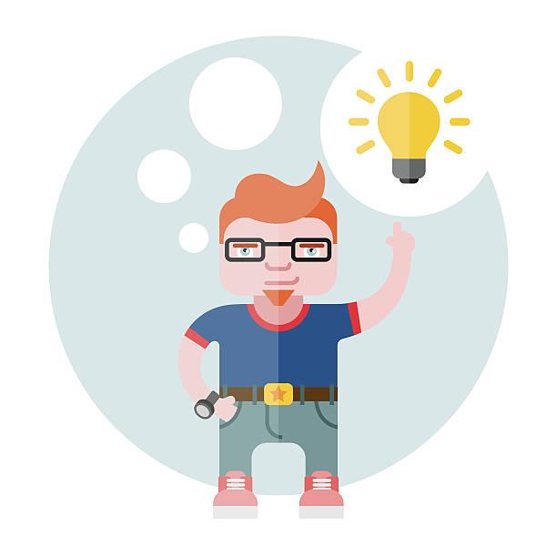 designer mit einer glühbirne - pastellhosen stock-grafiken, -clipart, -cartoons und -symbole