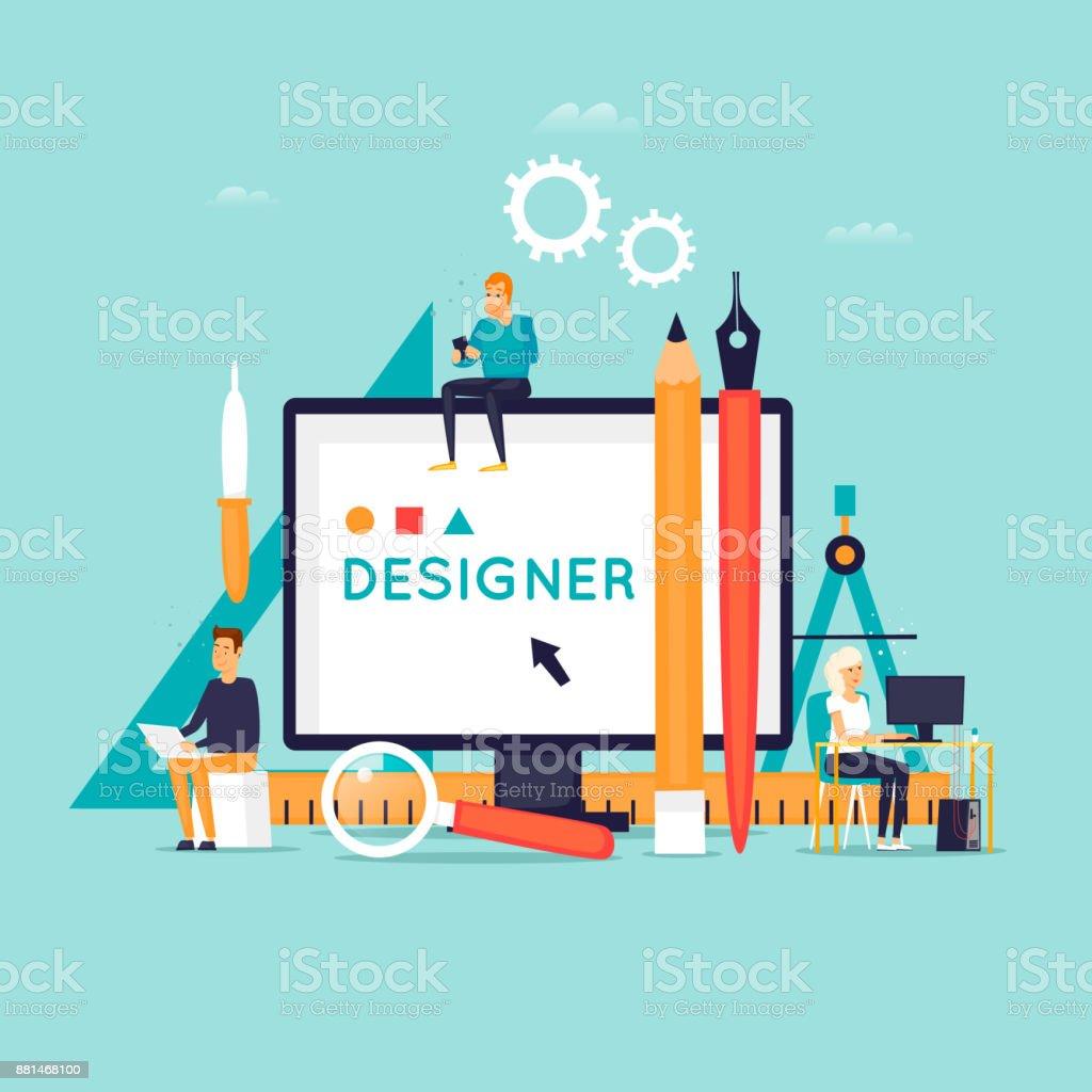 Designer Arbeitsplatz und Werkzeuge. Flaches Design-Vektor-Illustration. – Vektorgrafik