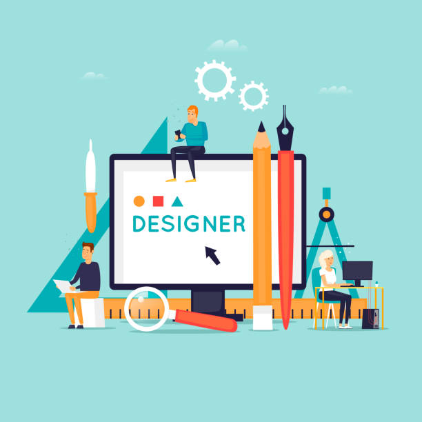 designer workplace and tools. flat design vector illustration. - projektant stock illustrations