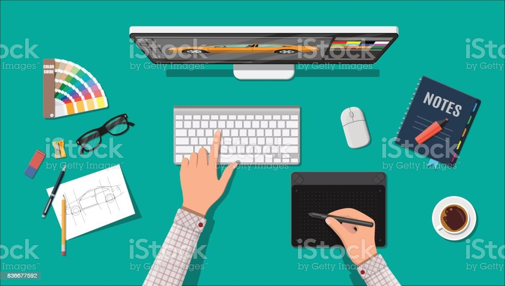 Designer workplace. Illustrator desktop with tools