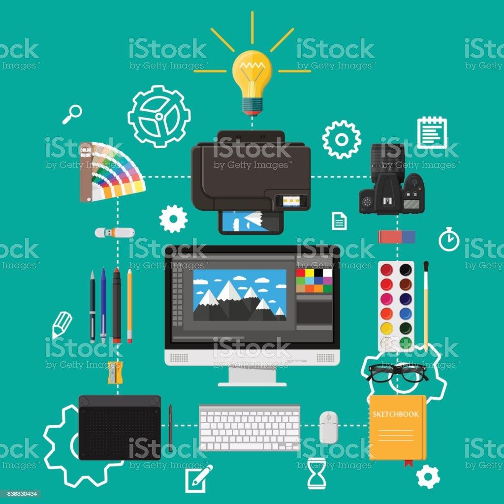 Designer workplace. Illustrator desktop with tools vector art illustration