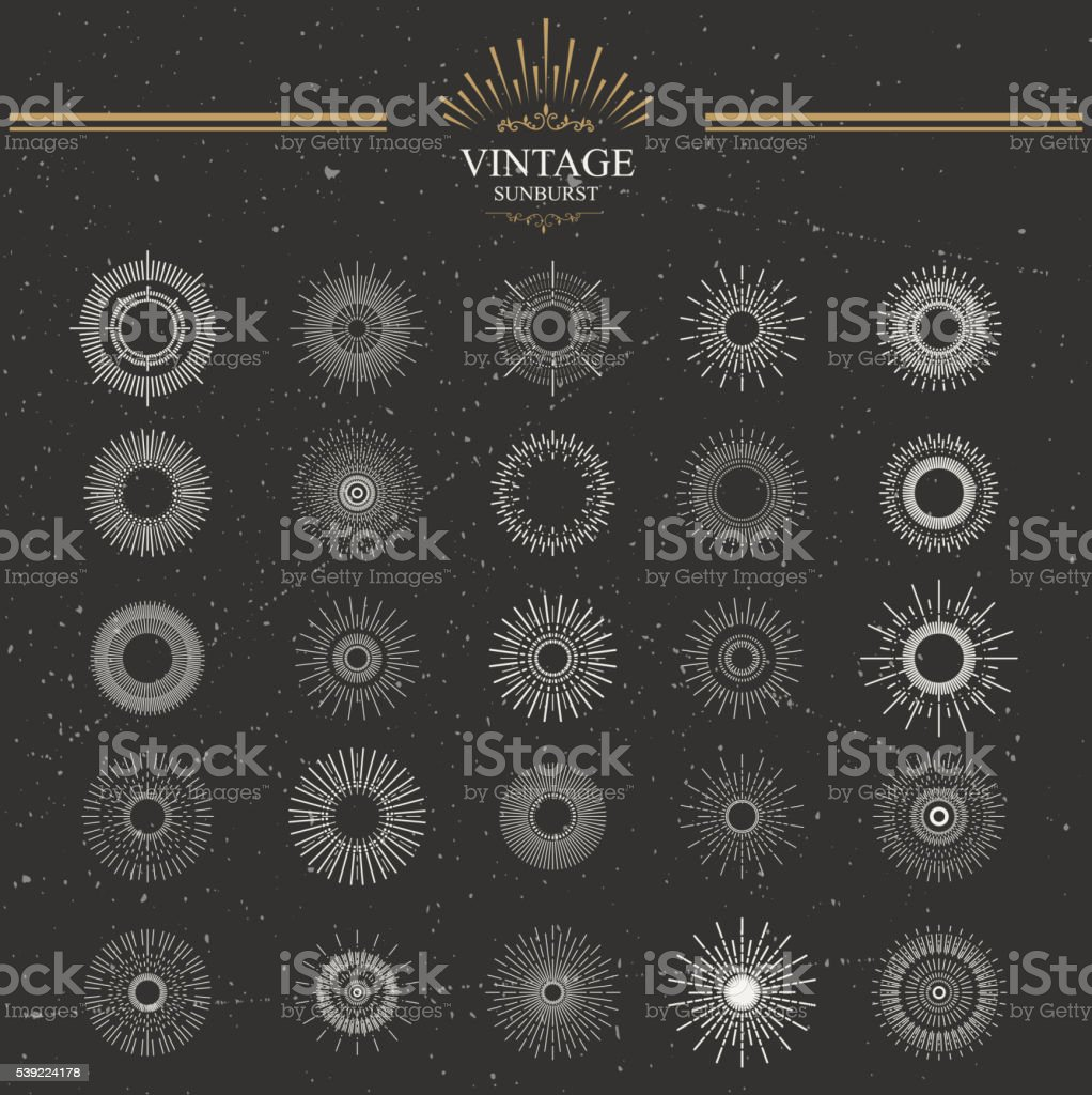 Designers collection of sunburst vector art illustration