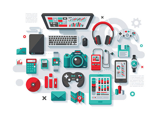 Designer's Desk Flat Design Concept A concept illustration with flat design-styled vectors themed on the designer's desktop. EPS 10 file, layered & grouped,  game controller stock illustrations