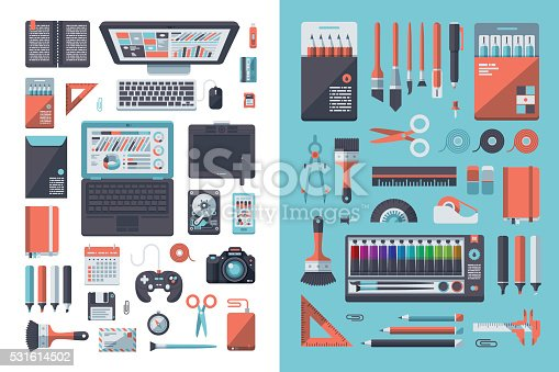 A set of flat design-styled objects found on a designer's desk. EPS 10 file, layered & grouped,