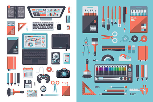 designer's desk flat design set - office supply stock illustrations
