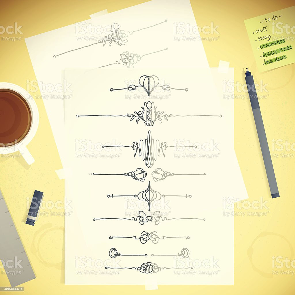 Designers Desktop Template Messy Table With Sketch Ornament Scrolls royalty-free stock vector art