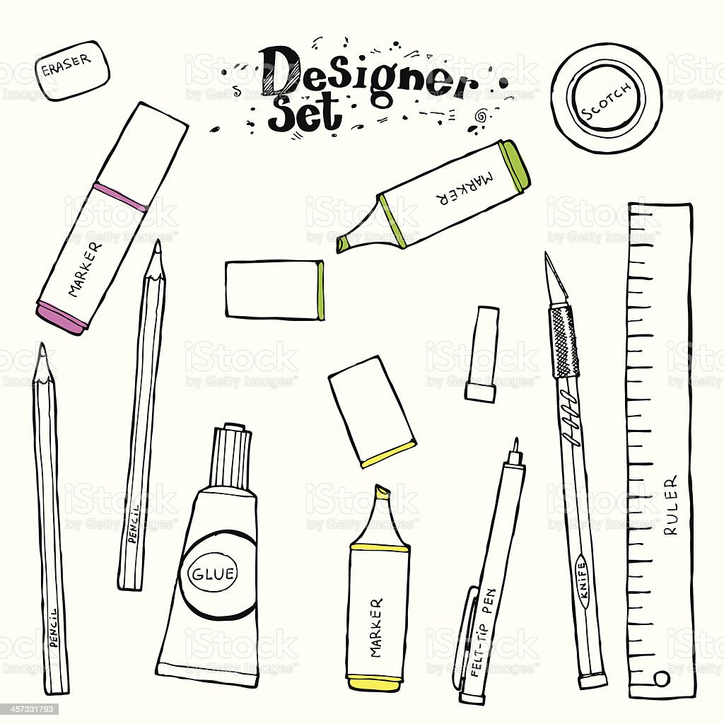 Designers toolkit - Hand drawn collection vector art illustration