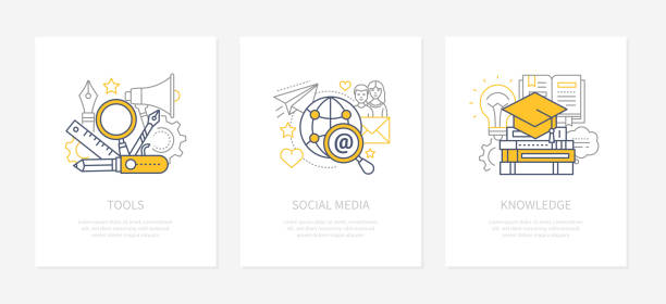 Designers tools - line design style icons set vector art illustration