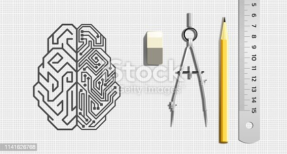 Pictogram of a cybernetic brain pictured by drawing tools which is lying beside of it. Illustration on the subject of 'Future Technologies'.