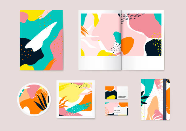 Designs for stationary Colourful Abstract pattern vector set funky stock illustrations