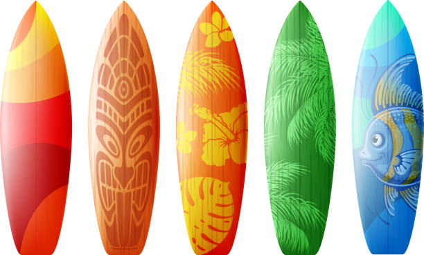 Designs For Surfboards Surfboards set with different bright and unusual pattern designs. Realistic style. Vector illustration. Isolated on white background. surf stock illustrations