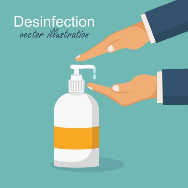 消毒のコンセプト。手を洗う男。フラットなデザインのベクターイラスト。保湿消毒剤を施す。 - 衛生点のイラスト素材/クリップアート素材/マンガ素材/アイコン素材
