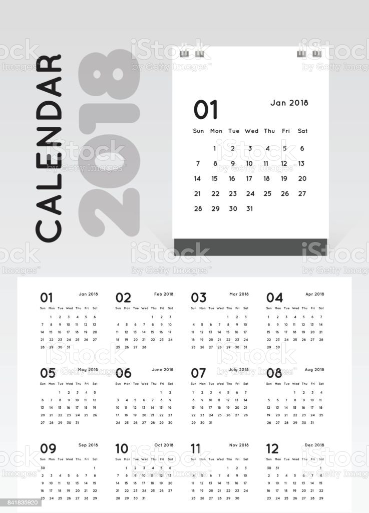 desk 2018 calendar simple minimal white template design royalty free desk 2018 calendar simple