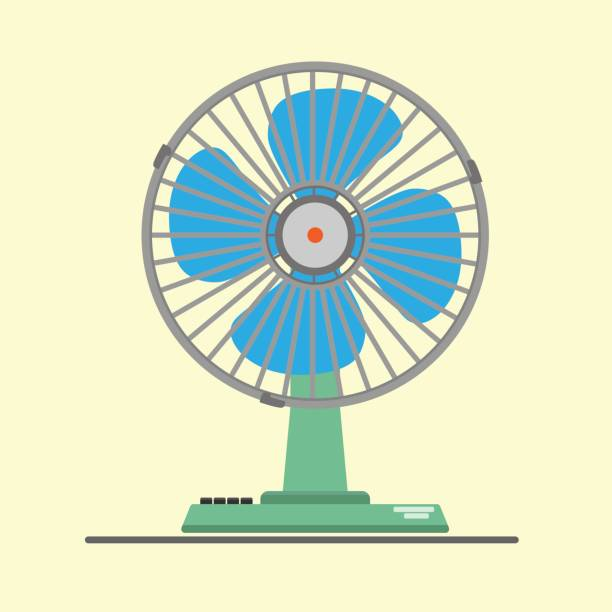 desk air electric fan - pervane stock illustrations