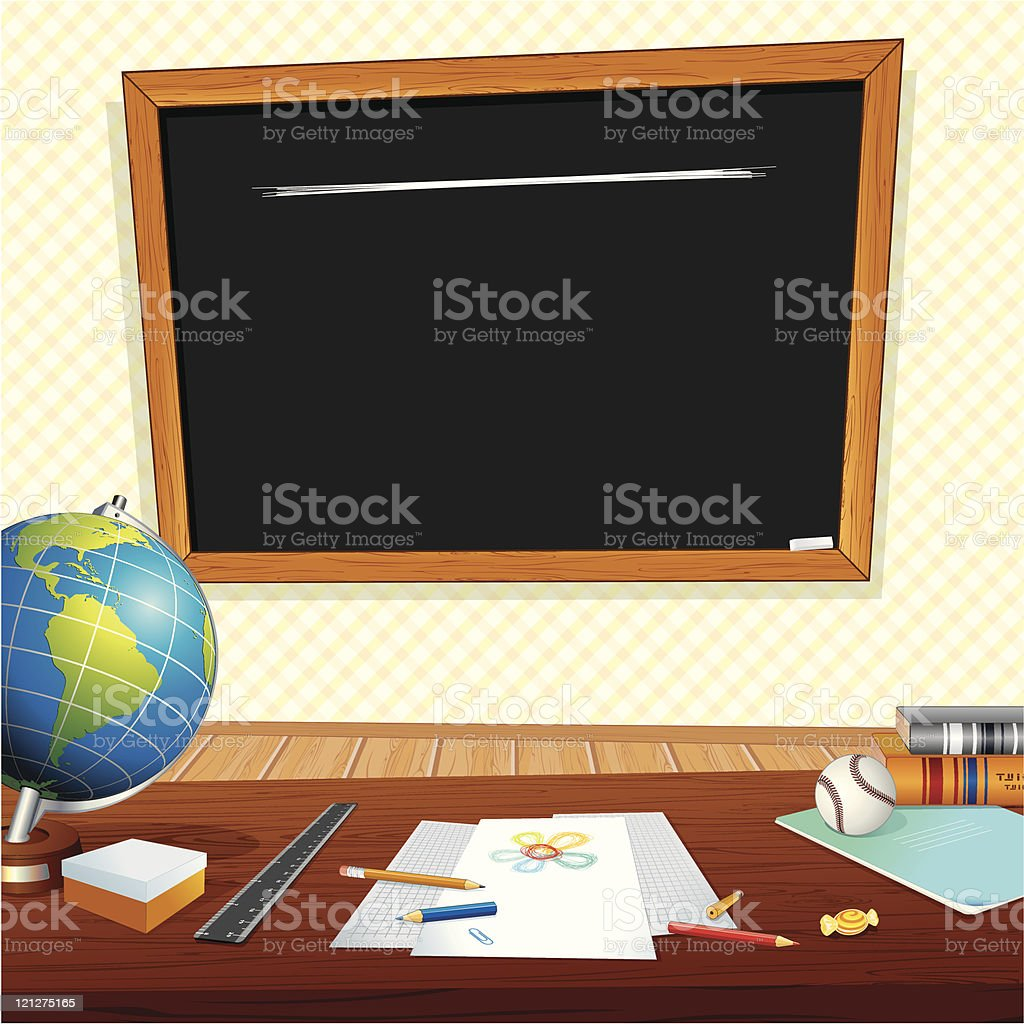 Desk and chalkboard in a classroom illustration royalty-free stock vector art