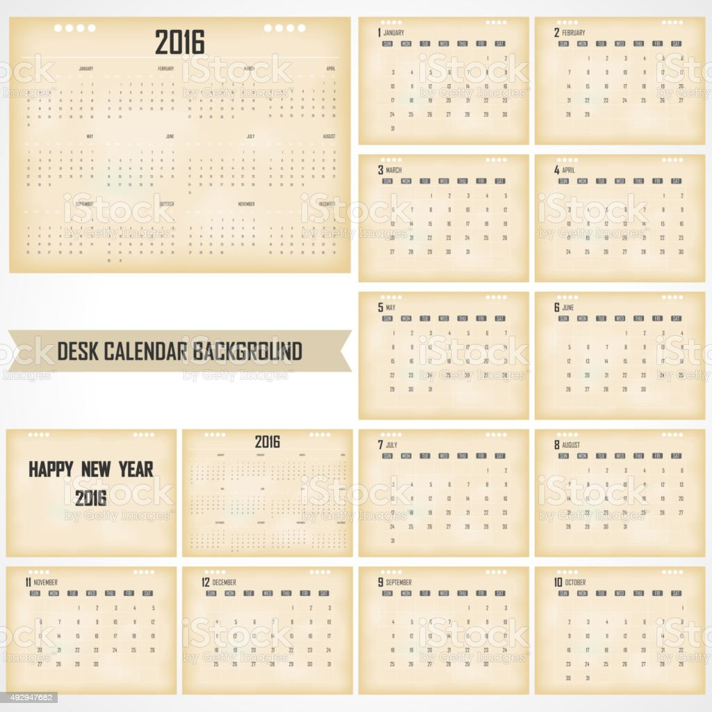 Calendrier de bureau Design Template vecteur 2016 - Illustration vectorielle