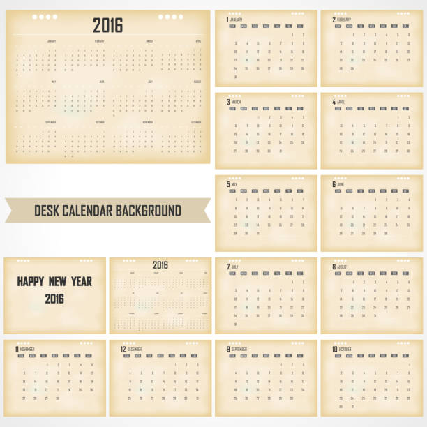 Desk Calendar 2016 Vector Design Template vector art illustration