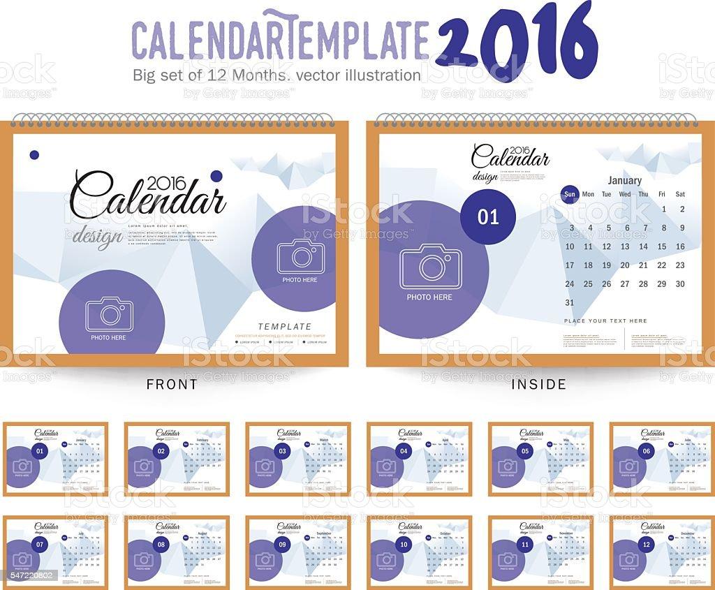 desk calendar 2016 vector design template stock vector art more