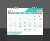 "Desk calendar 2017 June design layout template vector for corporate business week start on Sunday..Size 8""x 6"" horizontal. EPS-10."